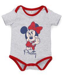 Disney by Babyhug Half Sleeves Onesies Minnie & Pretty Print - Grey