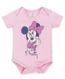 Disney by Babyhug Half Sleeves Onesie Minnie Print - Baby Pink