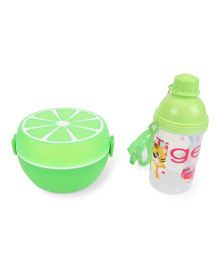 Round Lunch Box And Water Bottle Set Tiger Print - Green