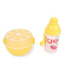 Round Lunch Box And Water Bottle Set Tiger Print - Yellow