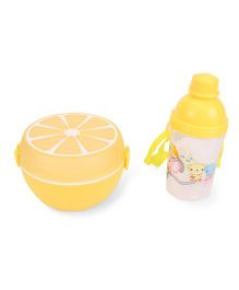 Round Lunch Box And Water Bottle Set Happy Firemen Print - Yellow
