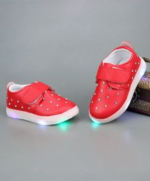 Little Maira Double Velcro Diamond LED Shoes - Cherry Red