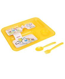 Pratap Ultra Transparent Plate With 5 Compartment - Yellow