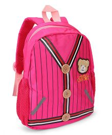 School Bag Teddy Patch Pink - 12 inches