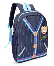School Bag Teddy Patch Navy - 12 inches