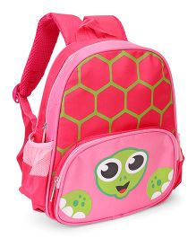 Tortoise Face Print School Bag Pink - 11 inches