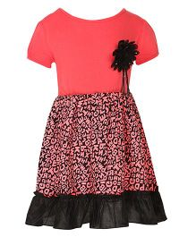Stylestone Alphabet Printed Dress With Flower Attached - Fuchsia Pink