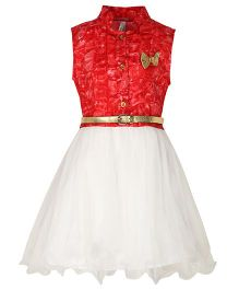 Stylestone Dress With A Golden Belt - Red & White