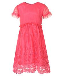 Stylestone Flower Embroidered Net Lace Dress - Fuchsia Pink