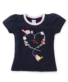 Babyhug Half Sleeves Top Little Birdy Print - Blue