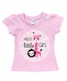Babyhug Half Sleeves Printed T-Shirt - Baby Pink