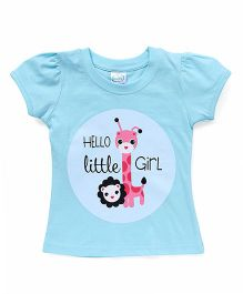 Babyhug Half Sleeves Printed T-Shirt - Aqua Blue