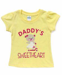 Babyhug Half Sleeves T-Shirt Daddy's Sweetheart Print - Lemon Yellow