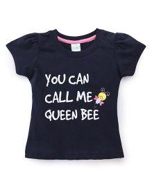 Babyhug Half Sleeves Top Queen Bee Print - Navy Blue