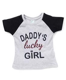 Babyhug Half Sleeves Printed T-Shirt - Grey & Navy Blue