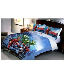 Uber Urban Double Bed Sheet And 2 Pillow Covers Set With Marvel Avengers Print - Blue