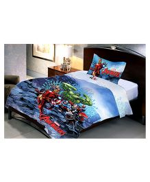 Uber Urban Single Bed Sheet And 1 Pillow Covers Set With Marvel Avengers Print - Blue