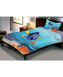 Uber Urban Single Bed Sheet And 1 Pillow Covers Set With Finding Dory Print - Blue