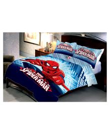 Uber Urban Double Bed Sheet And 2 Pillow Covers Set With Marvel Spider-Man Print - Blue