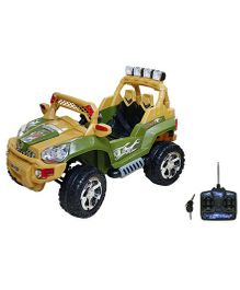 Wheel Power Musical Battery Operated Ride On Army Jeep - Green Yellow
