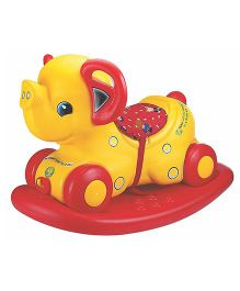 Girnar Elephant Rocker 2 in 1 - Yellow And Red (Colors May Vary)