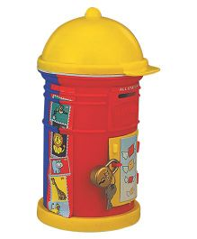 Girnar Mail Bank Cum Pen Stand - Red And Yellow (Colors May Vary)