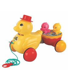 U.A. Pull Along Toy Spinning Duck - Multi-Color (Color May Vary)