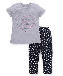 Babyhug Half Sleeves Printed Nightwear Suit - Grey Black