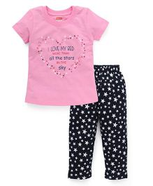 Babyhug Half Sleeves Printed Nightwear Suit - Pink Black
