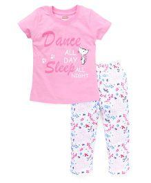 Babyhug Half Sleeves Printed Nightwear Suit - Pink