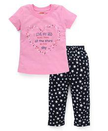Babyhug Half Sleeves Printed Nightwear Suit - Pink Black
