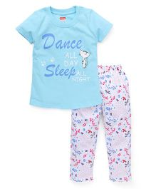 Babyhug Half Sleeves Printed Nightwear Suit - Blue