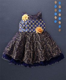 Kaia Fashion Checkered Dress With Floral Applique - Blue
