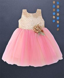 Kaia Fashion Sequin Net Frill Dress With Floral Applique - Pinkish Peach
