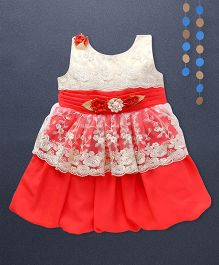 Kaia Fashion Net Frill Dress  With Floral Applique - Red