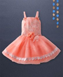Kaia Fashion Net & Lace Frill Dress With Floral Applique - Peach