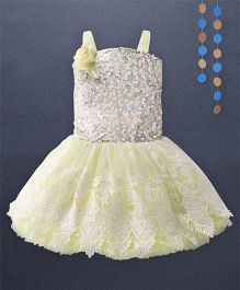 Kaia Fashion Lace Princess Frill Dress With Floral Applique - Lemon