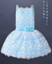 Kaia Fashion Lace Embossed Frill Dress With Floral Applique - Sky Blue