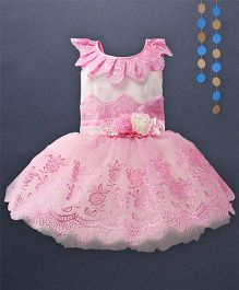 Kaia Fashion Lace Embossed Frill Dress With Floral Applique - Pink