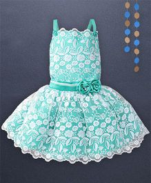 Kaia Fashion Lace Embossed Frill Dress With Floral Applique - Green