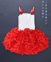 Kaia Fashion Net Sequence Frill Dress With Floral Applique - Red