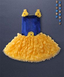 Kaia Fashion Net Sequence Frill Dress With Floral Applique - Yellow & Blue