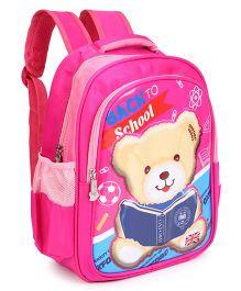 School Bag Teddy Bear Print Pink - 13 Inches