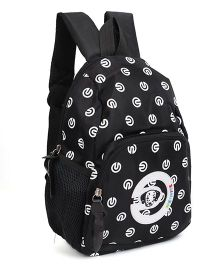 School Bag Puppy Face Print Black - 11 Inches