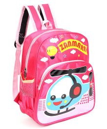 Helicopter Printed School Bag Pink - 11 Inches