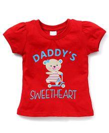Babyhug Half Sleeves T-Shirt Daddy's Sweetheart Print - Red