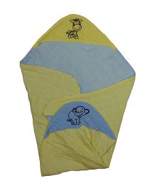 MK Handicraft Baby Hooded Wrapper - Yellow Blue