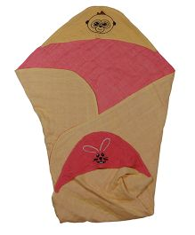 MK Handicraft Baby Hooded Wrapper - Beige Red