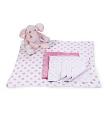 Piccolo Bambino Normal And Flannel Receiving Blankets With Elephant Soft Toy - Pink White