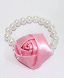 Aayera'S Nest Pearl Wristband With Satin Rose - White & Pink
